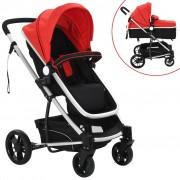 Sonata Детска/бебешка количка 2-в-1, алуминий, черно и червено