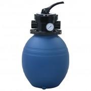 vidaXL Пясъчен филтър за басейн, 4 позиционен клапан, син, 300 мм