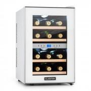 Klarstein Reserva, хладилник за вино, 34 л, 12 бутилки, 2 охлаждащи зони, 7-18 ° C, бял (HEA3-Reserva-Blanco)