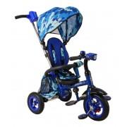 Велосипед трехколесный Junior-2, складная рама, светомузыкальная панель, надувные колеса, синий