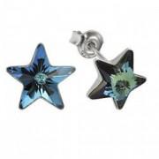 Cercei argint 925 cu swarovski elements 10 mm Bermuda Blue