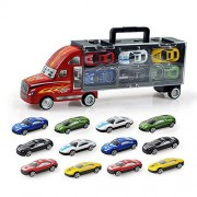 Mitemix Transport Car Carrier Truck, Toy Trucks Kit Include 12pcs Mini Play Cars, Alloy Vehicles Play Gift Set for Kids 3+ Years Old, Birthday & Festivals Gift, Red