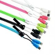 2 az 1-ben Cipzár USB kábel microUSB+Lighting, pink