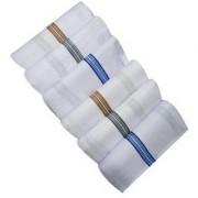 Nandini Home Fantasy Pure Cotton White Handkerchief (Hanky) for Men - Set of 6 Pcs