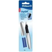 Stilou Twist Pelikan argintiu - blister