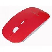 HDE Sleek Ergonomic Wireless Bluetooth Flat Slim Optical Mouse with Adjustable DPI (Red)