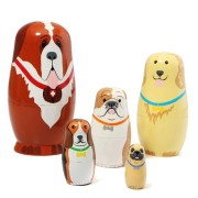 5 Pcs Russian Wooden Nesting Dolls Dogs Matryoshka Hand Painted Gift Tricky Toys Creative Gift
