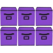 Billion Designer Non Woven 6 Pieces Large Foldable Storage Organiser Cubes/Boxes (Purple) - CTKTC35253 CTLTC035253(Purple)