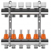 Set distribuitor inox tur/retur cu debitmetru IVAR 1 x EK - 4 cai