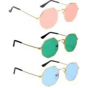 SRPM Aviator Sunglasses(Pink, Green, Blue)