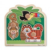 Rainforest Friends Jumbo Knob Puzzle + Free Melissa & Doug Scratch Art Mini Pad Bundle [33923]