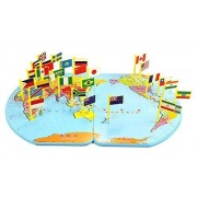 Wooden World Map Flag Matching Puzzle Geography Educational Toy Gift for Kids