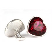 Mousie Bean Crystal Cufflinks Large Heart 075 Red