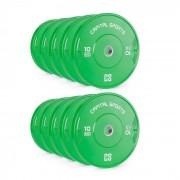 Capital Sports Nipton Bumper Plates, súlytárcsa készlet, 5 pár, 10 kg, keménygumi, zöld (PL-5x-28771)