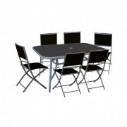 Como Lipari 6+1 kerti bútor garnitúra, fekete székkel