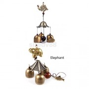 ELECTROPRIME® 2pcs Chinese Elephant Fish Bell Feng Shui Hanging Charm Wind Chime 3 Bells Decor