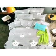 Lenjerie de pat din bumbac satinat de calitate cu 4 piese pentru 2 persoane Textilis de culoare gri cu stelute albe (2786)