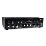 Pyle Amplificador profesional y receptor Bluetooth con sistema de audio estéreo, radio FM, (2) clavijas de entrada de micrófono de 1/4 pulgadas, reproducción MP3/USB/SD/AUX, visualización LCD ID3 Tag Readout 600 W (PT506BT)