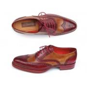 Paul Parkman Triple Leather Sole Wingtip Brogue Shoes Bordeaux & Camel 027-TRP-CMLBRD