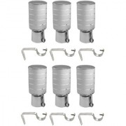Hans Enterprise Silver Set of 6 Stainless Steel Single Curtain Rod Bracket pack of 12