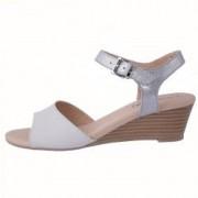 Sandale dama din piele naturala marca Caprice 9-28213-20-61-03 alb cu argintiu marime 37