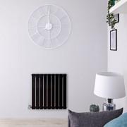 Hudson Reed Radiateur design électrique horizontal – Noir - 63,5 cm x 63 cm x 4,6 cm - Delta