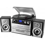 SoundMaster MCD4500 Kompaktstereo CD, AUX, Kassett, SD, USB, Skivspelare, MW, FM, Svart, Silver