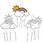 Baker Ross Rainbow Suncatchers - 4 rainbow wind chimes. Acrylic shapes pre-strung with metal chimes.11-13cm wide.