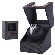 WENKOEBY Caja de reloj para relojes automáticos, caja de reloj de piel de fibra de carbono negra, 2 modos de rotación, para reloj mecánico de mujer y hombre