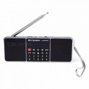 L-288FM Mini Portable Rechargeable Bluetooth Wireless Speaker With AM Radio Card USB Disk MP3 Black