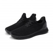 3D Flyknit Malla superior transpirable hombres Deportes zapatos ejecutando hueco Negro