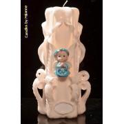 kaarsen: Geboorte Kaars, handgesneden, 23 cm 51614