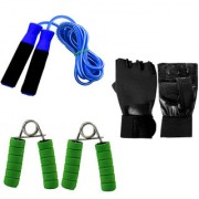 GENERIC PVC FOAM HANDLE SKIPPING ROPE+GLOVES+HAND GRIPPER COMBO SET (COLOR MAY VARY)