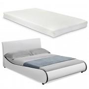 Съвременно тапицирано двойно легло с матрак Corium® 140x200cm , Бяло