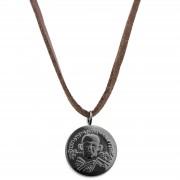 Lucleon Collier à pendentif hindou en cuir marron