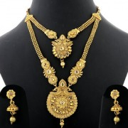 Silver Shine Traditional Gold Plated Ethnic Elegant Golden Kundan Stone Studded Peacock Style Two Layer Designer Long Necklace wedding Jewellery Set For Girls and Women