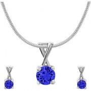 Mahi with CZ Dark Blue Elegant Cross Rhodium Plated Pendant Set for Women NL1104140RDBlu