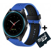 Ceas Smartwatch cu Telefon iUni V9 Plus, Touchscreen, 1.3' HD, Camera 2MP, iOS si Android, Albastru + Card 4GB