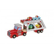 Janod Story Car Transporter Lorry with 4 Racing Cars