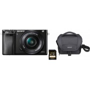 Sony »Alpha ILCE-6000L« Systemkamera (SEL-P1650, 24,3 MP, WLAN (Wi-Fi), NFC, Gesichtserkennung, HDR-Aufnahme, Makroaufnahme), schwarz