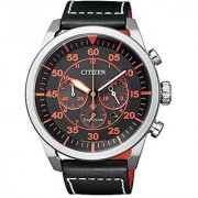 Citizen Black Leather Round Dial Quartz Watch For Men (Ca4210-08e)