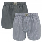 Boxershorts Woven 2-pack Striped Chambray Blue