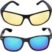 Criba Wayfarer, Retro Square Sunglasses(Blue, Yellow)
