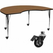 Flash Furniture Height-Adjustable Kidney-Shaped Activity Table with Casters - Oak, 48Inch W x 72Inch D x 22 1/4Inch-30 3/8Inch H, Model