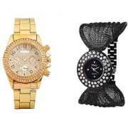 Paidu Golden and Fency Black Dimond Zulla Watches For Men and Women