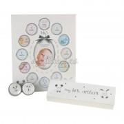 Cadou pentru bebelusi rama bucla dintisor certificat de nastere