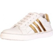 SAUNTER Men's White and Golden Casual Outdoor Sneaker (Size 9) Sneakers For Men(White)