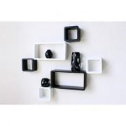 BM Wood furniture Set Of 6 Designer Wall Rack Shelves (black-white)