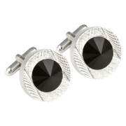 Mousie Bean Crystal Cufflinks Round 70's 083 Jet