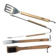 Set 4 ustensile pentru gratar Strend Pro BBQ S12046, Otel inoxidabil, maner din lemn de stejar FMG-SK-2210444